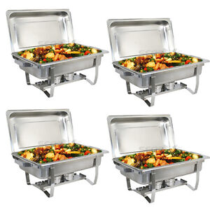 4 PACK CATERING STAINLESS STEEL CHAFER CHAFING DISH SETS 8 QT PARTY PACK 700161276435