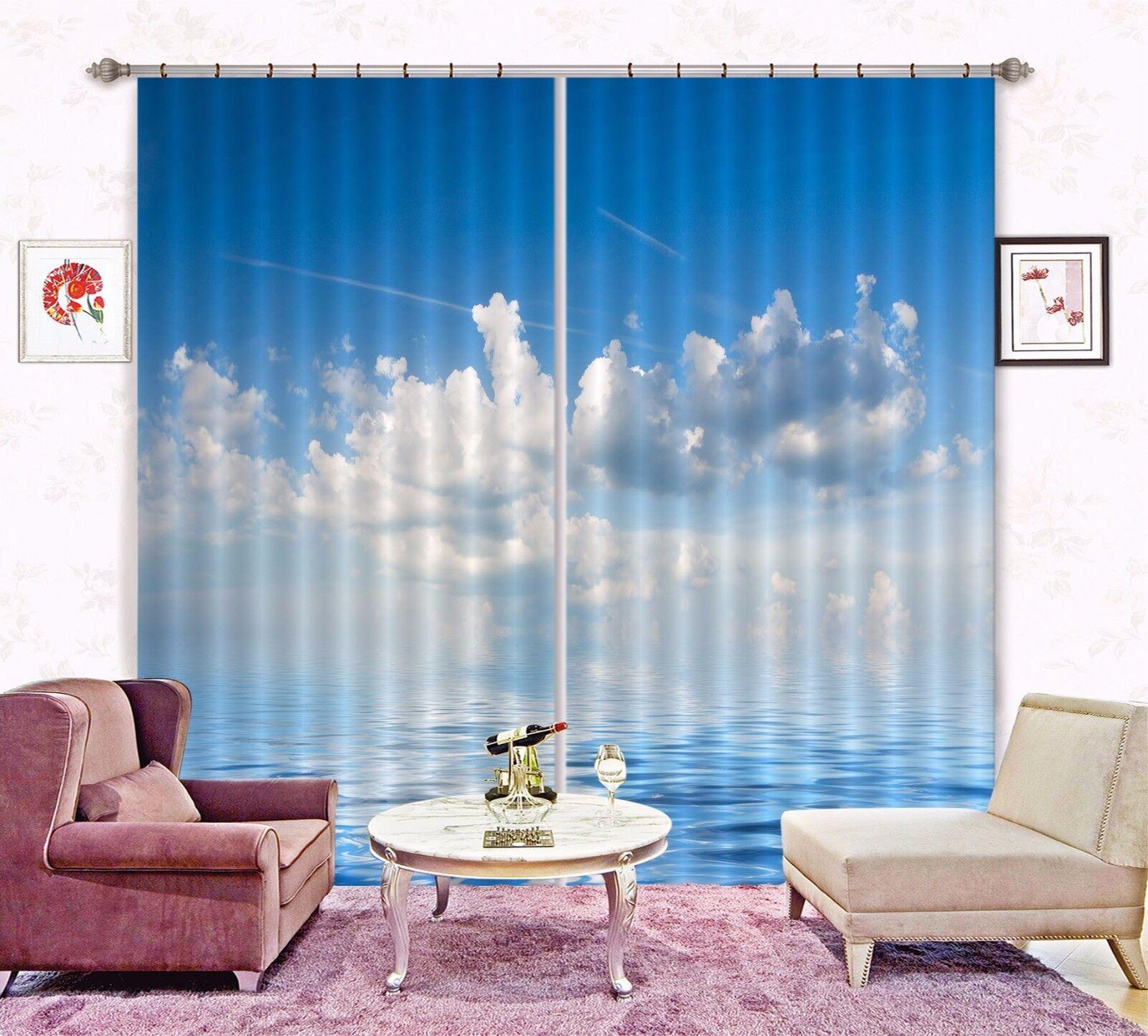 3D nubes blancoas 78 Cortinas de impresión de Cortina Blockout Foto Tela Cortinas Ventana au