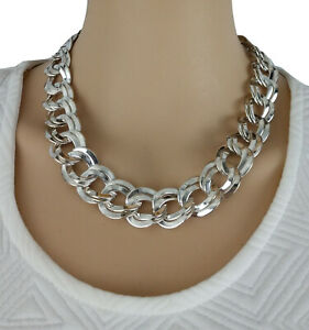 """Ky & Co Double Link Chunky Chain Necklace Silver Tone 18"""" Made in USA"""