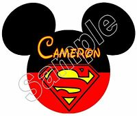 Mickey Ears Superman Personalized Iron On T Shirt Pillowcase Fabric Transfer 1