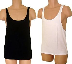 eb2e677a1ed1f MENS BLACK LOW SCOOP NECK DROP ARM SLEEVELESS VEST TANK TOP ACTIVE ...
