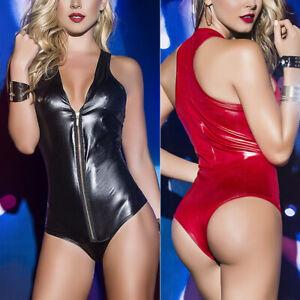 Women-Lingerie-PU-Leather-Bodysuit-Leotard-Jumpsuit-Thong-Zipper-Clubwear