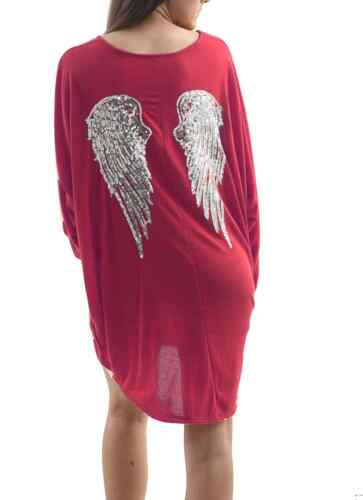 Fine Knitted Marl Batwing Sequin Angel Wings Back Solid Irregular Tunic Top V15