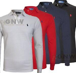 RALPH-LAUREN-hombre-manga-larga-Polo-Camiseta-Camiseta-100-autentico-NUEVO