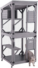 Aivituvin Outdoor Cat House Indoor Cat Cages Enclosures on Wheels,Large Kitten P