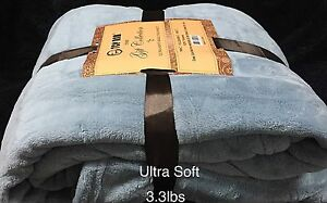 Ultra-Soft-Fluffy-Plush-Queen-Size-Sky-Blue-Color-Cozy-Blanket-Bedspread-3-3lbs