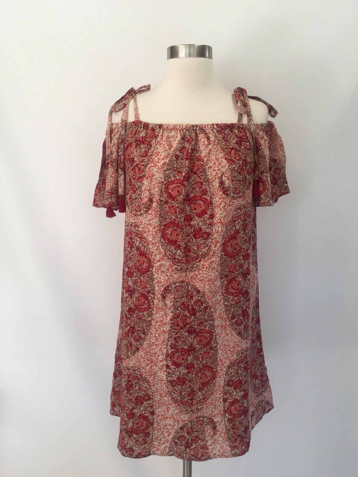 Madewell silk cold-shoulder dress watercolor paisley,g6420 Pink Floral Sz S