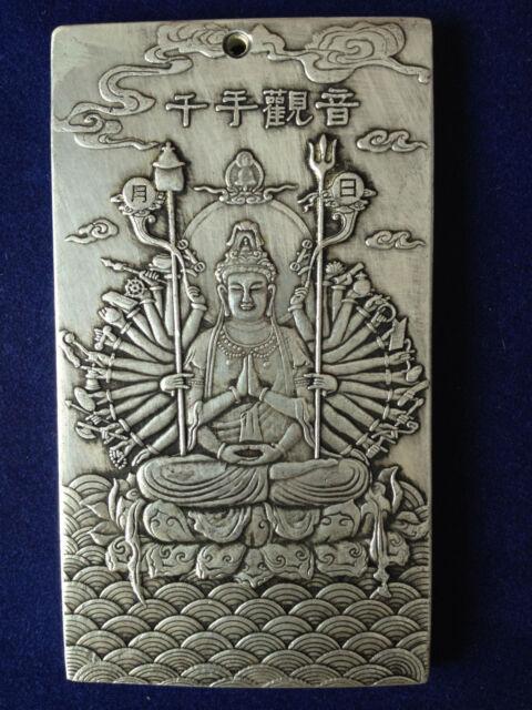 "Old Chinese""鹿鹤同春/"" tibet Silver Bullion thanka amulet"