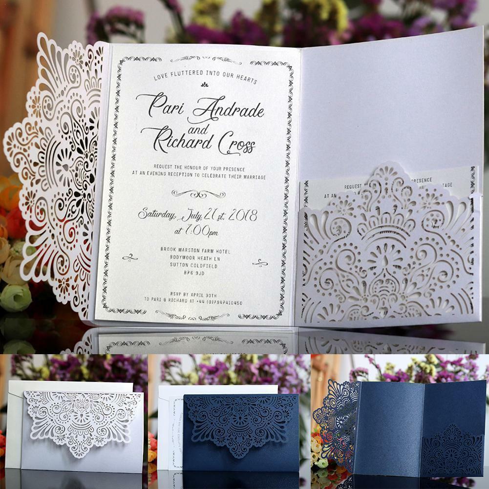 20 50 100pcs à faire soi-même Laser Cut Vintage Dentelle Floral Mariage Cartes d'invitation Enveloppe