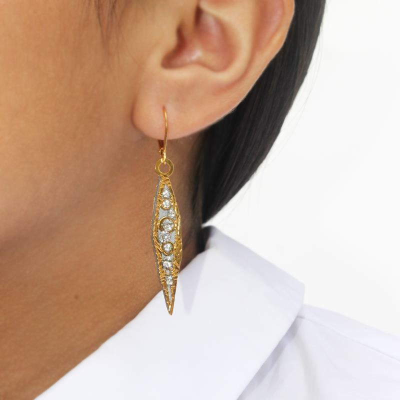 Michal Golan 24K gold Plated Icicle Crystals Medium Size Slender Drop Earrings