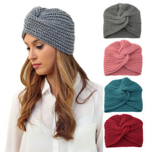 Women Warm Winter Knit Turban Cross Twist Wrap Cap Hair Beanie Hat Multicolor