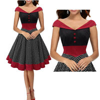 Plus Size Vintage Polka Dot 50s ROCKABILLY Swing Pinup Housewife Retro Dresses