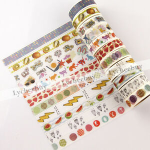 1X-Cartoon-Fruits-Paper-Sticky-Adhesive-Sticker-Decor-Washi-Tape-DIY-Stationery