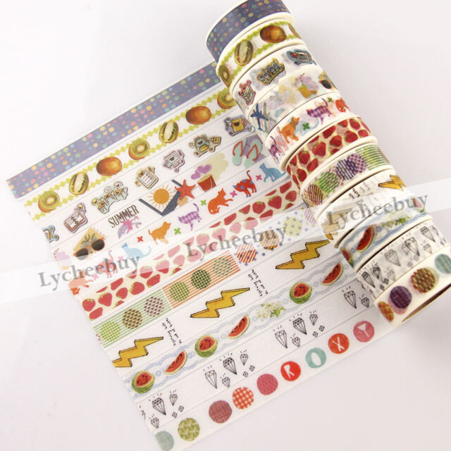 1X Cartoon Fruits Paper Sticky Adhesive Sticker Decor Washi Tape DIY Stationery