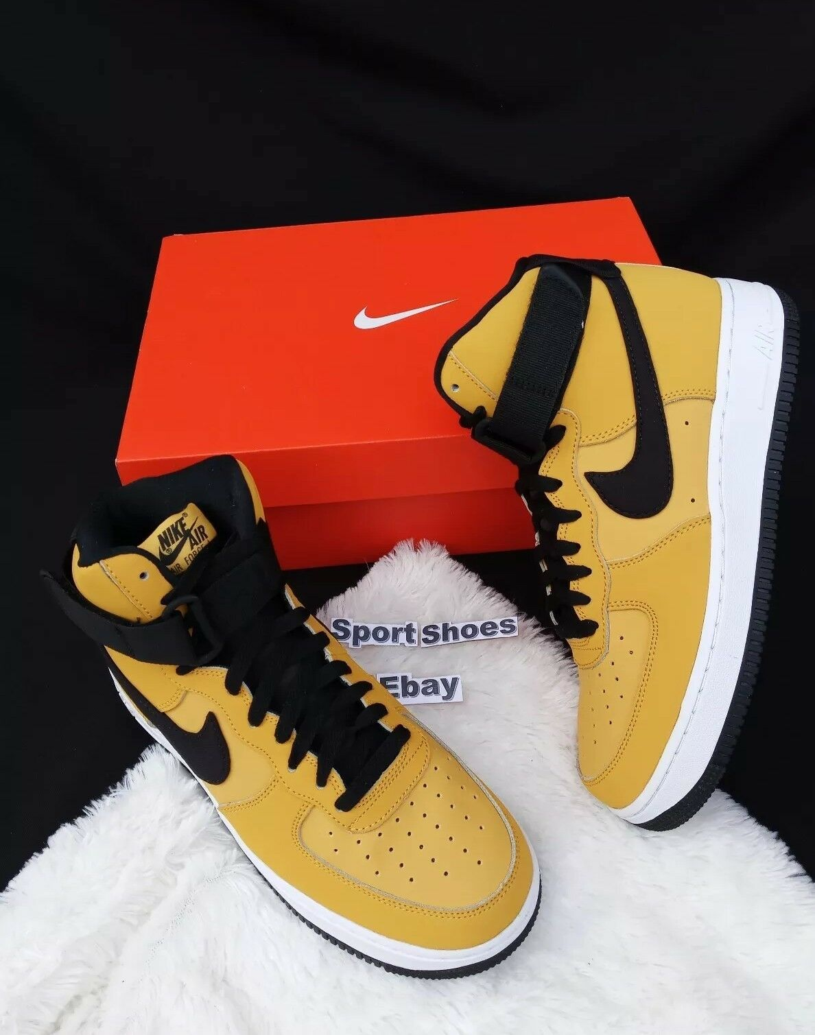 7 MEN'S NIKE AIR FORCE 1 HIGH '07 LTHR LEATHER STRAP AT4963 700 YELLOW BLACK