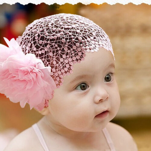 Distinct Baby Girl Toddler Flower Lace Headband Hair Band Headwear Beanie Hat