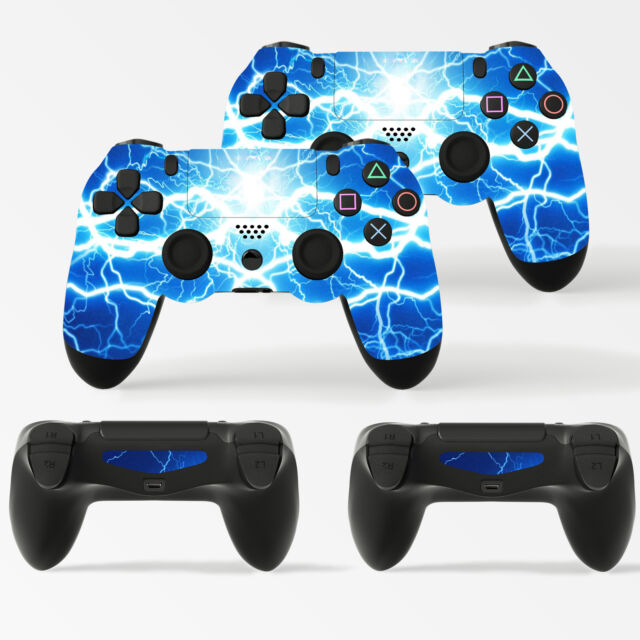 2 X Electric Blue Storm Playstation 4 Ps4 Controller Skins Full Wrap Vinyl Stick
