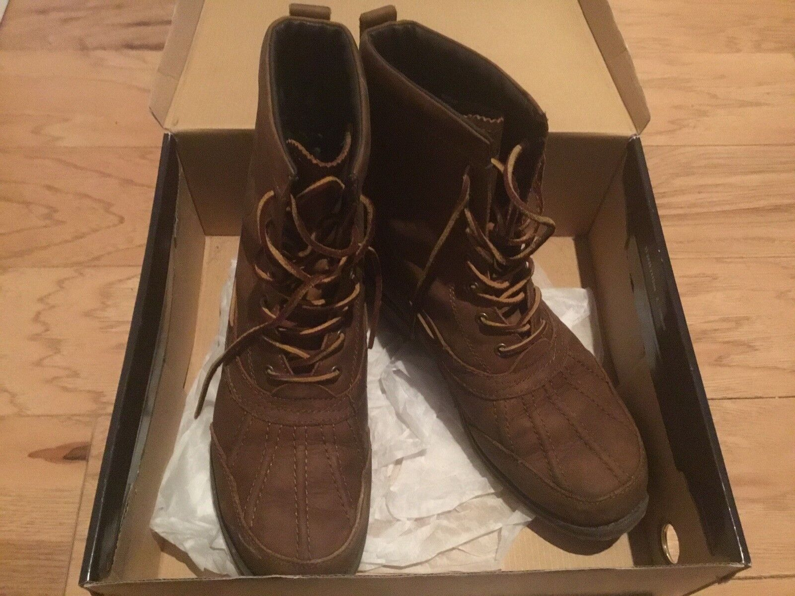 557a954c44e3 Men Ralph Lauren Snow Boot 9D 9D 9D Brown Lace Up Winter shoes d208a5