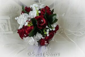Wedding flowers adult bridesmaid small brides bouquet in red and image is loading wedding flowers adult bridesmaid small brides bouquet in mightylinksfo