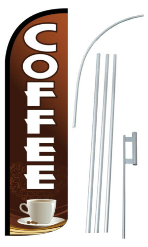COFFEE Flutter Feather Flag Sign Blade Banner 30/% Wider SUPER SWOOPER