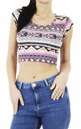 Ladies Girls Gold Foil Aztec Short Sleeve Round Neck Crop Top Vest T Shirt Tank