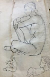Presidente-Femminile-Nudo-5-Disegno-Midcentury-Moderno-Art-Studio-Schizzo-60x41