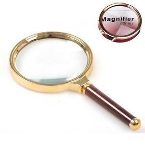 10x-90mm-Handlupe-Lesen-Lupe-Lupe-Glaslupe-Echtglas-Lupe-Vergroesserungsglas-L6I4