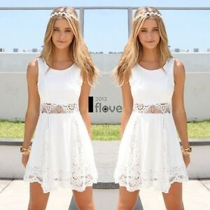 Womens-Casual-Sleeveless-Lace-Summer-Beach-Bodycon-Party-Skater-White-Mini-Dress