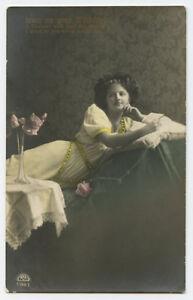 c 1910 Glamour Lady RECLINED BEAUTY European Fashion photo postcard