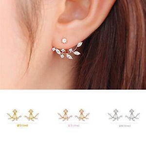 Women-18K-Gold-Plated-Leaf-Crystal-Ear-Jacket-Double-Sided-Swing-Stud-Earrings