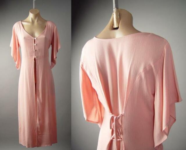 Tea Rose Pink Corset Back Victorian Shabby Chic Duster Tunic 138 mv Jacket S M L