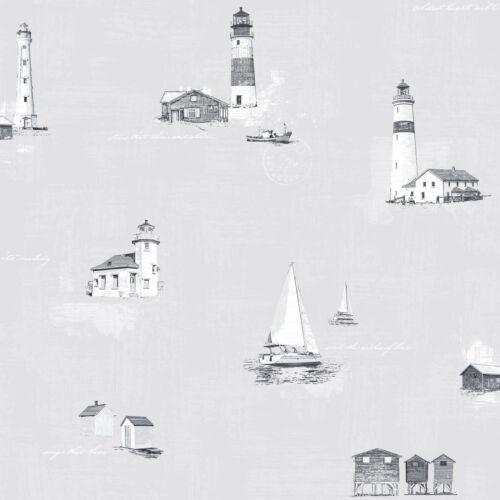 D/'ESSEN papier peint Coast to Coast g23314 Gris Blanc Phare Bateau Toile Papier peint toile