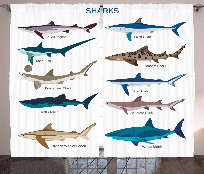 Fish Curtains Cartoon Shark Types Wild Window Drapes 2 Panel Set 108x84 Inches