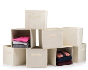 Foldable-Storage-Boxes-Cube-Basket-Storage-Bins-Beige-Collapsible-8-PACK