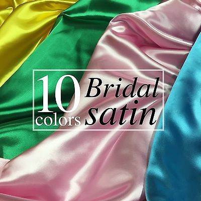 "Bridal Satin Fabric Silky Poly 60/"" Wide Heavy Wedding Dress Drapery By The Yard"