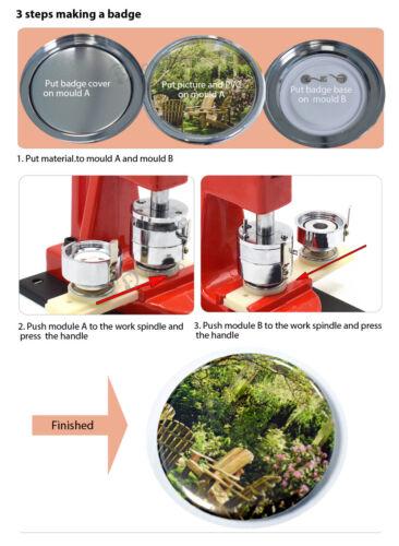 Circle Cutter Button Maker Machine Badge Making Pins Punch Press Aluminum Frame