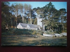 POSTCARD-CORNWALL-ST-JUST-IN-ROSELAND-THE-CHURCH-ON-THE-BEACH