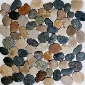 Fluss Kiesel Naturstein Mosaik Fliesen Flach Dunkelgrau Mix