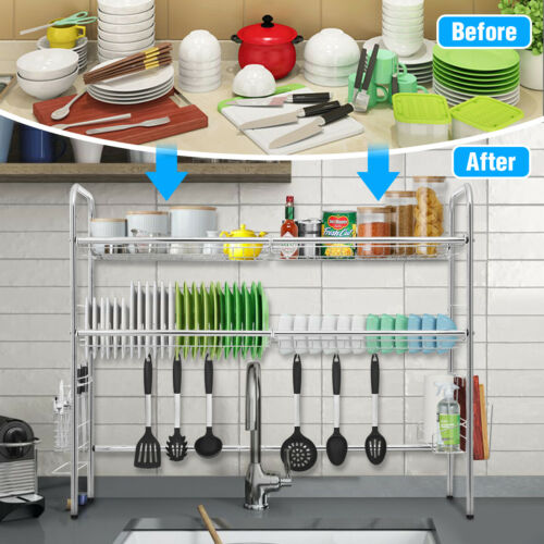 2//3 Tier Dish Drying Rack Over Sink Kitchen Cutlery Drainer Holder Space