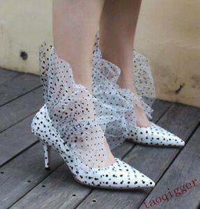 Womens-Polka-dot-leather-pointed-toe-fashion-high-heels-catwalk-Stiletto-shoes