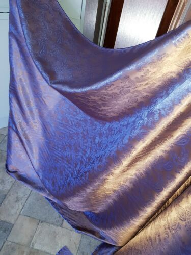 "1M royalblue//brown two tonecolour paisley print dress lining jacquard fabric 58/"""