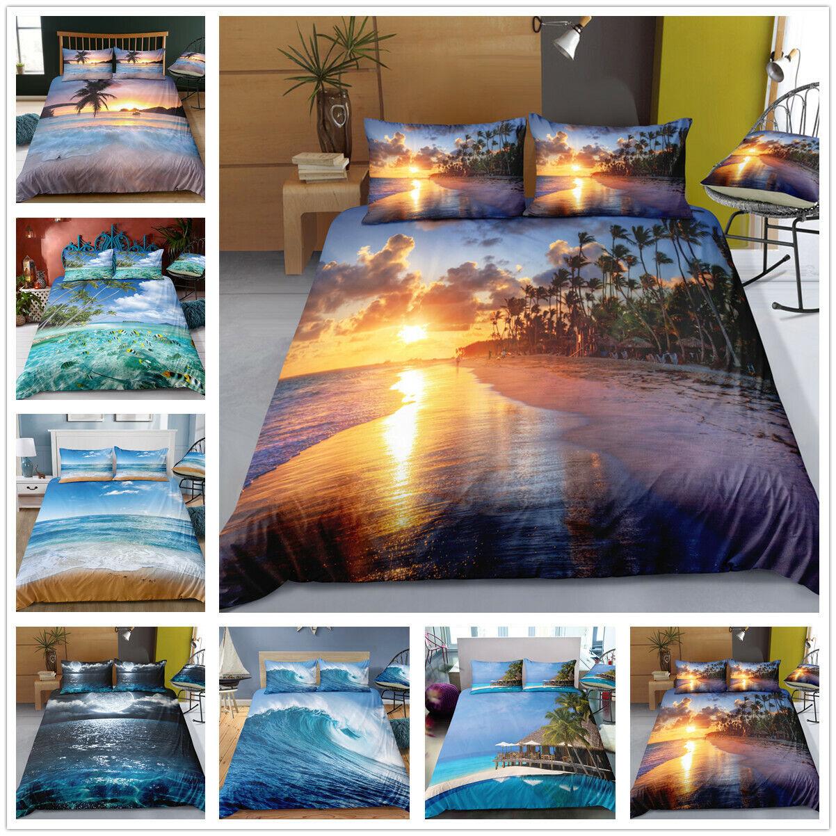 3D plage Sunshine Ocean Wave Quilt Duvet Doona Cover Bedding Set PilFaiblecase