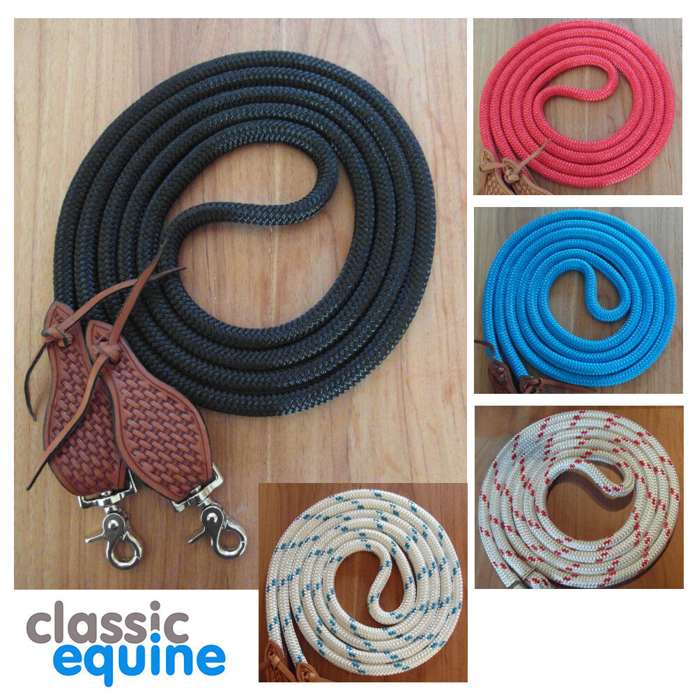 Rope  Reins with Waterloops & Clips - Western, Parelli, Natural Horsemanship  promotions