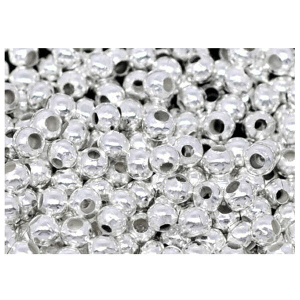 2000PCs Silver Plated Smooth Ball Spacers Beads 2.4mm U3R1 G7N3