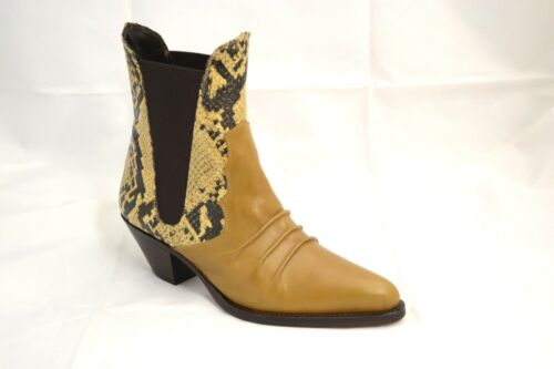 STIVALETTI TEXANI ANKLE BOOTS VERA PELLE STAMPA A PITONE MADE IN ITALY