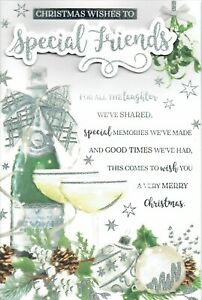 SPECIAL FRIENDS CHRISTMAS CARD Multi Page Insert Lovely Words Champagne
