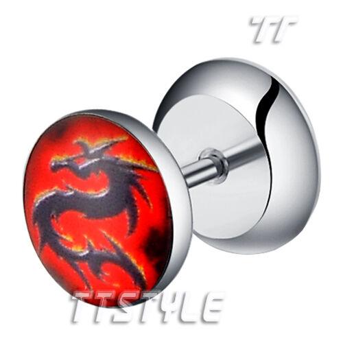 TTstyle Clear Epoxy Dragon Logo Surgical Steel Fake Ear Plug Earrings