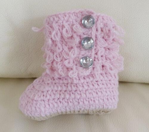 HANDMADE Newborn Baby Crochet Knit ×Loop de Booties× Boots Shoes 0-6 months