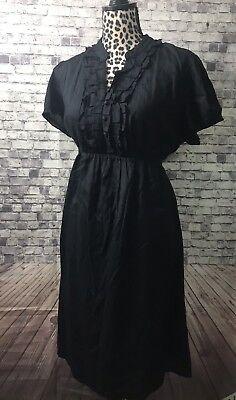 Dresses Motherhood Materneity Black Ruffer Top Dress Sz Large