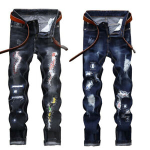 Men-039-s-Fashion-Ripped-Hole-Biker-Skinny-Jeans-Frayed-Casual-Trousers-Denim-Pants